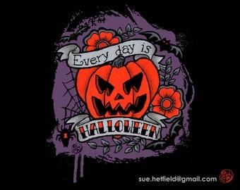 "Halloween Alternative Goth ""Every day is Halloween"" Tattoo Style T-shirt"