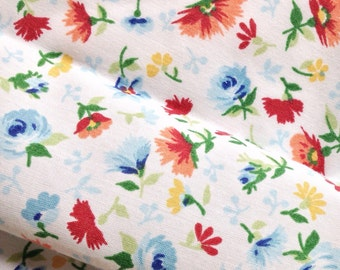 """Vintage Fabric FQ: """"Victory Garden"""" Fat Quarter, cut from upcycled 1960s-1980s bed sheet fabric"""