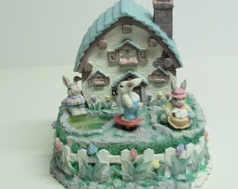 Lighted Musical Easter Bunny Cottage ~ Collectable Animated Easter Décor ~ Easter Bunny ~ Easter Decoration
