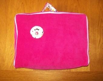 Suitcase for child in pinwale corduroy fushia