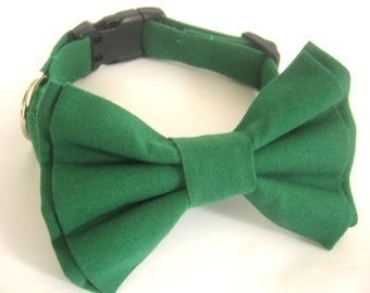 Dog collar Green collar with bow tie Dog bow tie collar Dog gift Small medium large sizes