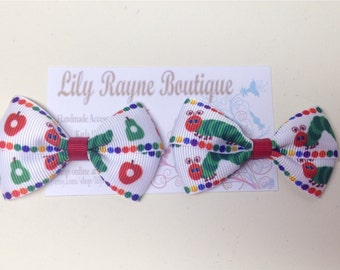 The Very Hungry Caterpillar Pigtail Bows on Alligator Clips