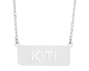 925 Sterling Silver Personalized Any Name Plate Tag Pendant Necklace - Nameplate Necklace