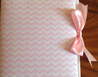 Cute Pink Chevron Photo Album with Pink Ribbon to Hold Your Treasured Memories!