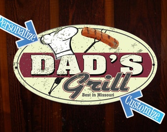 Dad's Grill Custom Tin Sign