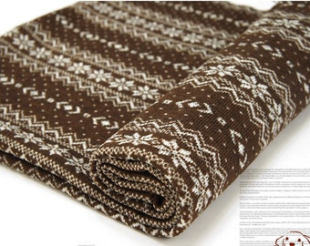 Brushed Sweater Knit Fabric Snowflake Brown