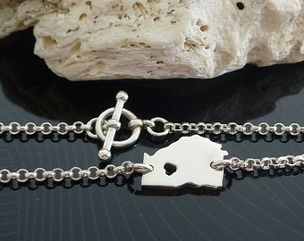 Sterling Silver Georgia Bracelet / Custom Heart / Small Georgia Bracelet / Love Georgia / State Bracelet / Georgia Wedding