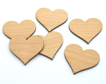 HEARTS : 100 Laser cut wooden hearts - Made to order