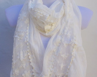 White Scarf,Wedding Scarf,Spring Summer Scarf,Summer Shawl,Womens Scarves,Bridal Accessories,Fashion Scarves,Fall Scarf,Gift Ideas For Her