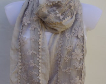 Beige Scarf,Wedding Scarf,Spring Summer Scarf,Summer Shawl,Womens Scarves,Bridal Accessories,Fashion Scarves,Fall Scarf,Gift Ideas For Her