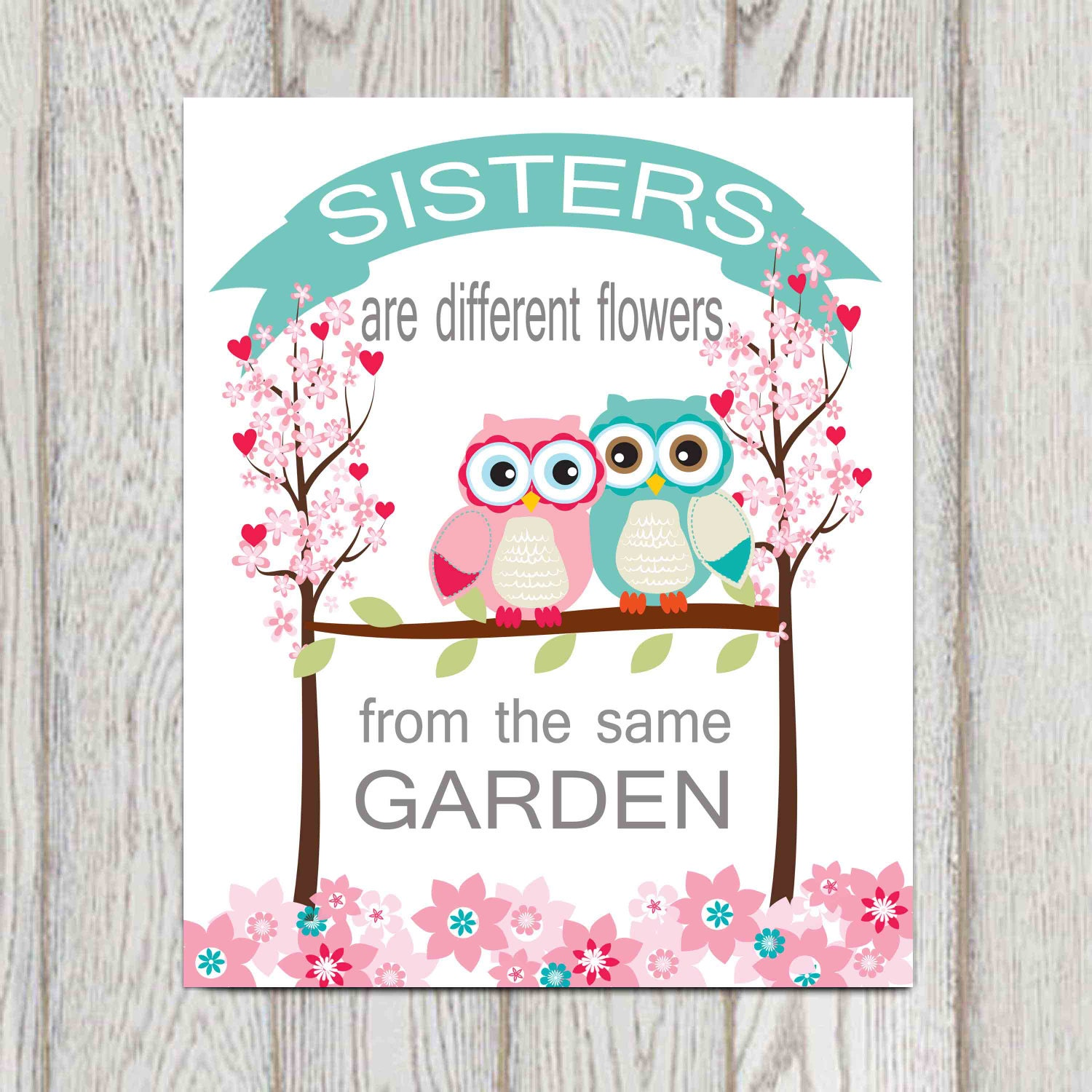 Sisters Bedroom Wall Art Decor Quote Twin Girls Nursery Owl