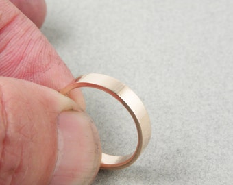 Rose gold wedding band-4x1.2 mm,flat in shinny finish,rose gold,Men or Women ring.Option of white or yellow gold too.FREE SHIPPING.
