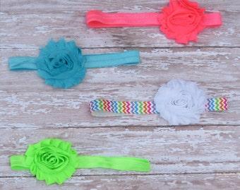 Set of 4 summer headbands-baby headbands-infant headbands-newborn headbands-shabby headbands-baby girl headbands-baby girl bows-baby girl