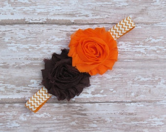 Cleveland Browns headband-orange and brown-baby headbands-infant headbands-chevron headbands-shabby headbands-newborn headbands-baby girl