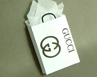 shopping bag Gucci or any log you like  dollhouse miniature 1/12 scale