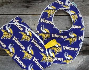 Chenille Bib and Burp Set-Minnesota Vikings