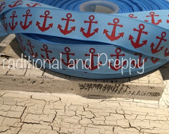 "7/8"" Preppy Nautical ANCHOR RED on NAVY Grosgrain Ribbon sold by the yard"