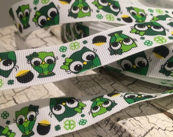 "3 yards 7/8"" St Patricks Day Owl Shamrock on White Grosgrain Ribbon"