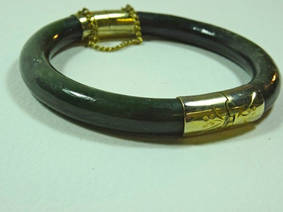 Vintage Jade and gold color bangle