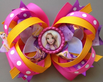 Princess Rapunzel Pink Purple and Goldenrod Stacked Bow
