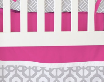 15% OFF SALE- Fuschia and Gray Mod Lattice Bumperless Crib Bedding | 2 or 3 Piece Set for a Pink and Gray Nursery