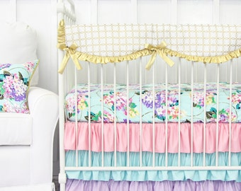 Holly's Hydrangea Ruffle Bumperless Crib Bedding | Pastel and Gold Baby Bedding | 2 or 3 piece set