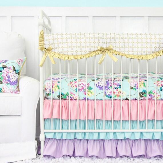 Holly 39 S Hydrangea Ruffle Bumperless Crib Bedding Pastel