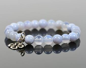Blue Chalcedony Bracelet, Shamrock, Beadwork Bracelet, Handmade Gemstone Jewelry, Gemstone Bracelet, Handmade Jewelry, Gemstone Jewelry