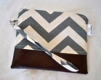 VEGAN!  Grey chevron clutch with vegan leather bottom, clutch , chevron bag, clutch, leather clutch, faux leather