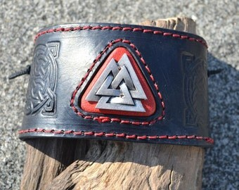 Viking VALKNUT Leather Bracelet Wristband Armband Cuff Jewelry Jewellery Medieval Middle Ages Norman Vikings Mythology Pagan Paganism