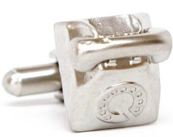 Three Dimensional Old School Silver Telephone Cufflinks Cuff Links