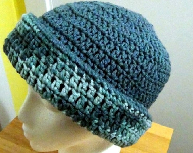 Cadet Blue and Variegated Colonial Blues Hat - Wedgewood Blue Winter Hat - Reversible Head Wear - Rolled Brim Hat