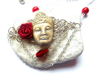 Choker / necklace / Buddha pendant with red flower