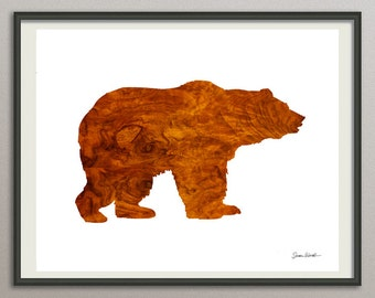 Bear art print poster, bear watercolor, abstract bear, bear silhouette, bear illustration, bear painting, bear decor, bear wall art