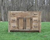"""Rustic Vanity (48"""") - Reclaimed Barn Wood w/Paneled Doors #9888"""