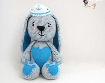 Amigurumi Bunny with sailor hat.