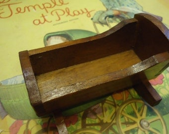 Vintage Doll House Antique Primitive Baby Cradle Rocker
