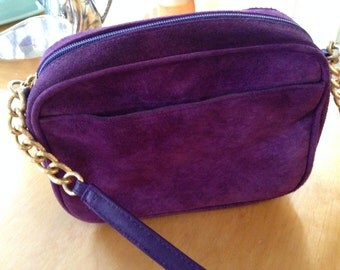Purple Suede Purse with gold accents & side pocket