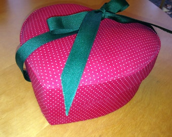 Red Heart Shaped Cloth box with green ribbon