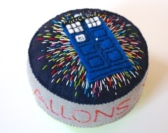 Wool felt pincushion with Dr Who's TARDIS flying through time and space