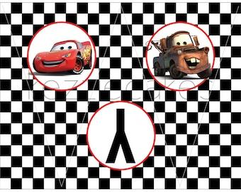 Printable Checkered Flag Happy Birthday Banner - Cars Birthday Party