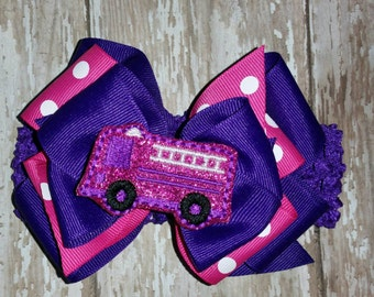 Interchangeable Firetruck Hairbow on crocheted headband. All on alligator clips. Can wear hairbows separately or all together.