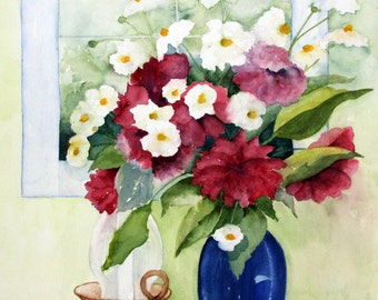 Blue Vase is an archival matted print of an original watercolor painting