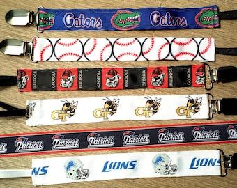 Pacifier Clips - Sports/FL Gators/Baseball/GA Bulldog/Georgia Tech/Patriots/Lions