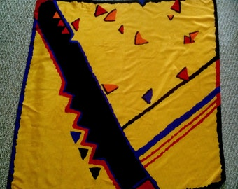 """Vintage large Abstract COLORFUL SILK SCARF by Ginnie Johansen 39"""" by 37.5"""""""