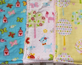 Three Chenille Burp Cloths, Trees and Outdoor Girly Prints