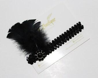 Baby Gatsby Flapper Headband 20s Boho Sequin Headband Black  Newborn Infant Flower Girl Toddler Child Adult Fascinator-Dancer-Pin Up