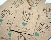 16 Personalised 'Mint to Be' Wedding Favor, Favour Tags