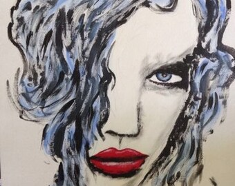 Black and White Abstract Painting of Woman with Red Lips