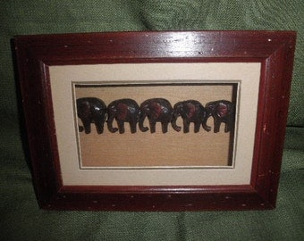 Shadow Box 3D Elephants Decoration Wood